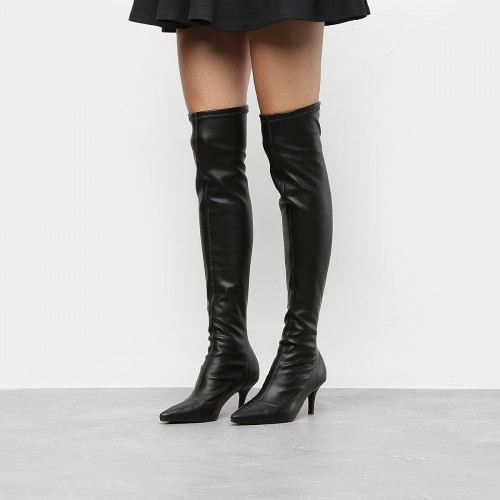 Bota Vizzano Over The Knee Napa Strech na cor PRETO